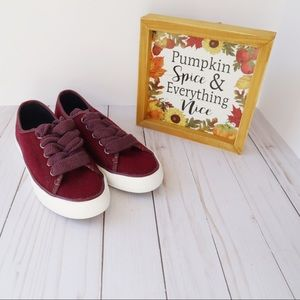 Sperry Pier View Burgundy Wool Sneakers Size 5.5